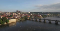 Slow aerial shot moving towards Prague Castle Stock Footage
