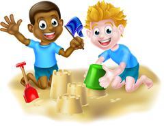 Cartoon Boys Making Sandcastles Stock Illustration