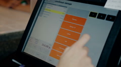 Close up shot push touch screen in cafe Stock Footage
