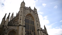 Bath Abbey and the Roman Baths in the City of Bath - pan Stock Footage