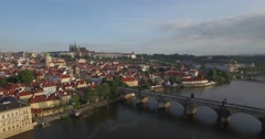 Slow aerial shot moving away from Prague Castle - stock footage