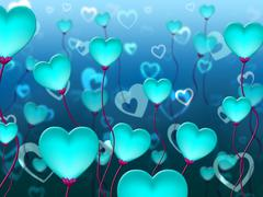 Blue Hearts Background Indicating Valentines Day And Passion - stock illustration