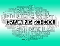 Drawing School Representing Design Educating And Educate Stock Illustration