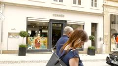 Hermes luxury store - stock footage