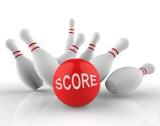 Bowling Score Means Ten Pin And Activity 3d Rendering Stock Illustration