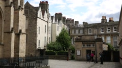Typical English houses by the Abbey of Bath Stock Footage