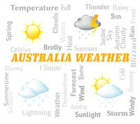 Australia Weather Meaning Meteorological Conditions And Outlook - stock illustration