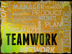 Teamwork Words Showing Combined Teams And Unit Stock Illustration