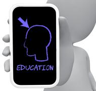 Eduction Online Indicates Mobile Phone And Cellphone 3d Rendering - stock illustration