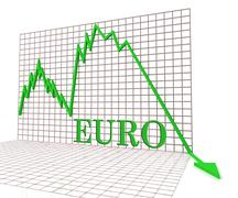 Euro Graph Negative Indicates Exchange Rate And Charts 3d Rendering - stock illustration