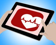 Heartbeat Online Showing Pulse Trace And Monitor - stock illustration