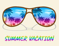 Summer Vacation Meaning Time Off And Summertime Stock Illustration