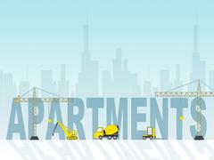 Apartment Construction Meaning Home Property And Residence Stock Illustration