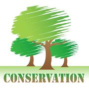 Conservation Trees Showing Earth Friendly And Nature - stock illustration