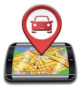 Car Gps Showing Automotive Drive And Navigation Stock Illustration