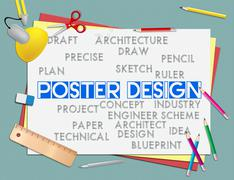 Poster Design Showing Creation Banner And Idea Stock Illustration