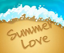 Summer Love Indicating Lover Seashore And Beach - stock illustration