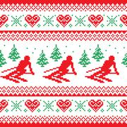 Christmas, winter red and green seamless pattern - man skiing in mountains Stock Illustration