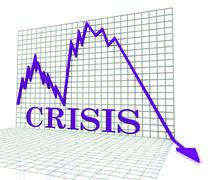 Crisis Graph Represents Hard Times And Calamity 3d Rendering Stock Illustration