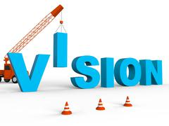 Build Vision Indicates Future Building And Plans 3d Rendering Stock Illustration