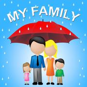 My Family Meaning Children Myself And Parasol - stock illustration