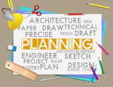 Planning Words Showing Schedule Goal And Organizing - stock illustration