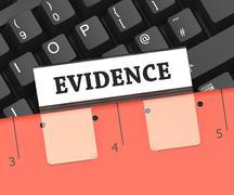 Evidence File Means Forensic Facts And Folders 3d Rendering Stock Illustration