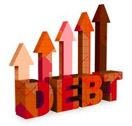 Debt Arrows Means Financial Obligation And Bankruptcy 3d Rendering Stock Illustration