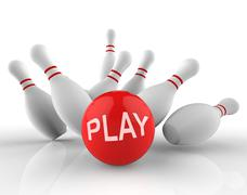 Play Bowling Indicates Free Time And Activity 3d Rendering - stock illustration