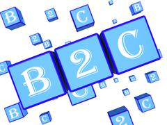 B2c Dice Represents Business To Customer And Client 3d Rendering Stock Illustration