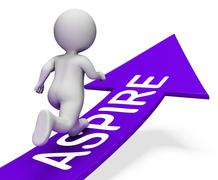 Aspire Arrow Indicates Missions Future And Plans 3d Rendering Stock Illustration