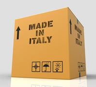 Made In Italy Represents Product Export And Purchase 3d Rendering - stock illustration