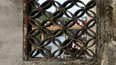 Wuzhen China canal thru wall grid Stock Footage