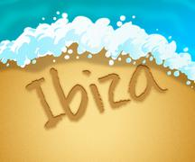 Ibiza Holiday Showing Go On Leave And Time Off Stock Illustration