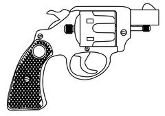 Snub Nose 45 Hand Gun - stock illustration