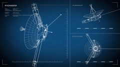 Looping, animated orthographic engineering blueprint of Pioneer spacecraft. Stock Footage