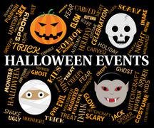 Halloween Events Shows Trick Or Treat And Autumn Stock Illustration