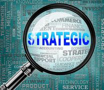 Strategic Magnifier Representing Business Strategy And Searches Piirros