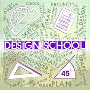 Design School Indicating Educate Designed And Studying Stock Illustration