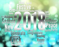 Twenty Eighteen Represents Happy New Year And Celebrates Stock Illustration