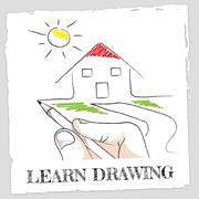 Learn Drawing Showing Schooling Sketch And Designer Stock Illustration