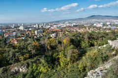 Nitra, the city under the Zobor hill, in autumn, urban scene Stock Photos