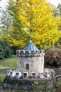Turret in Bojnice, Slovakia, autumn park, seasonal colorful park scene Stock Photos