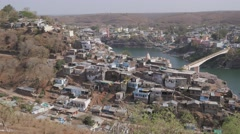 View of  island and bridges,Omkareshwar,India Stock Footage