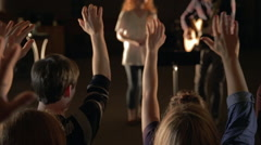 WORSHIP LEADERS SLIDER DOLLY Stock Footage