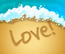 Love Beach Indicating Dating Passion And Compassion Stock Illustration