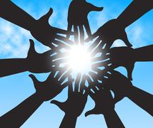 Hands In Sky Shows Togetherness Human And Relations - stock illustration