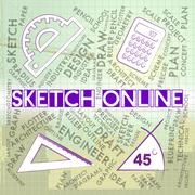 Sketch Online Representing Searching Internet And Draft - stock illustration