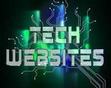 Tech Websites Meaning Electronic High-Tech And Digital - stock illustration