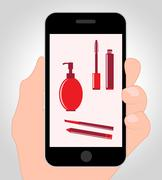 Makeup Online Indicating Mobile Phone And Cosmetology - stock illustration